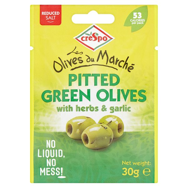 CRESPO PITTED GREEN OLIVES WITH HERBS & GARLIC CLIPSTRIP
