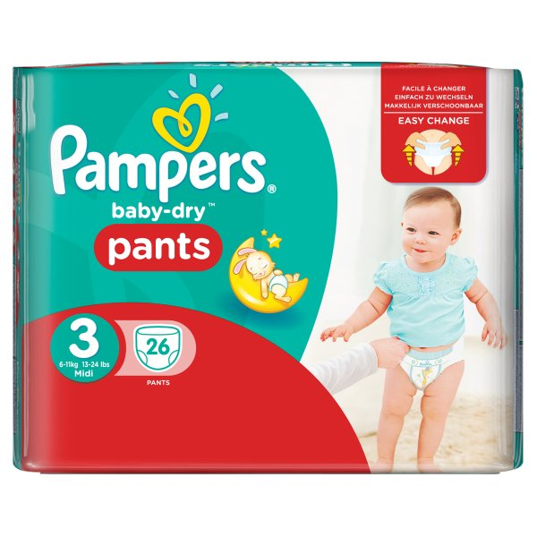 PAMPERS BABYDRY PANTS SZ3 CARRY PK