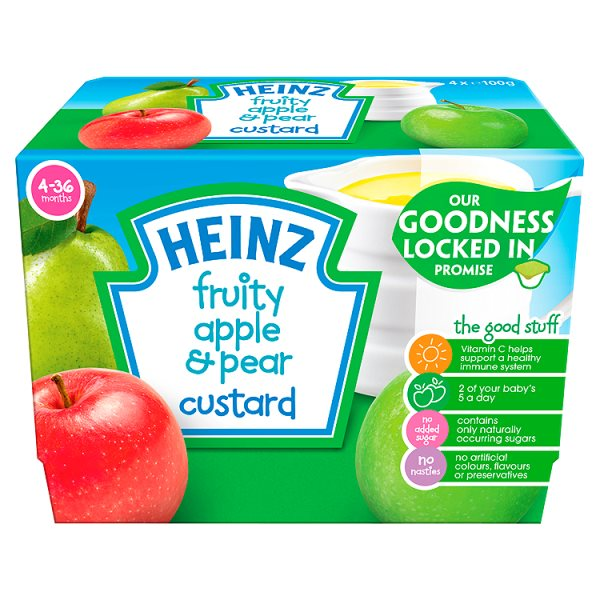 HEINZ FRUITY CUSTARD PEAR & APPLE