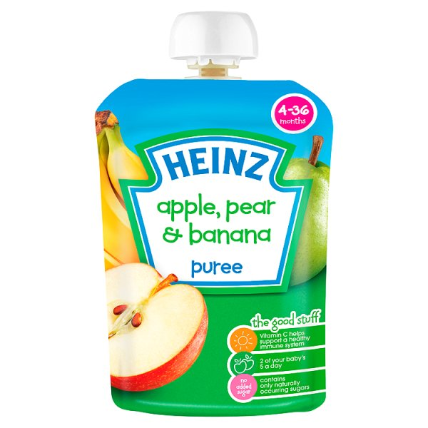 HEINZ FRUIT POUCH APPLE/PEAR/BANANA STAGE 1