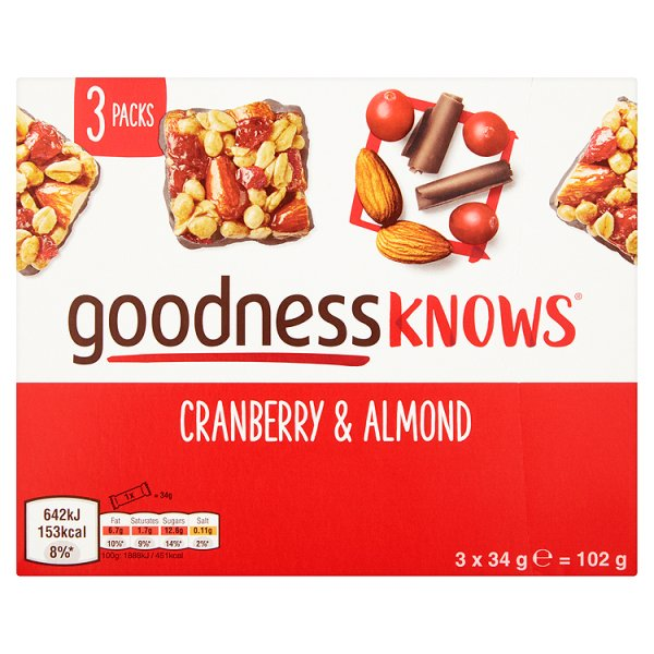 GOODNESS KNOWS CRANBERRY/ALMOND 3PK