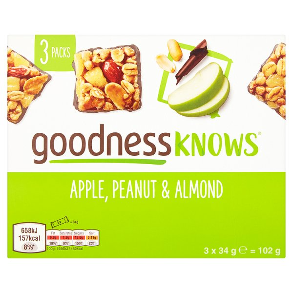 GOODNESS KNOWS APPLE PEANUT/ALMOND 3PK