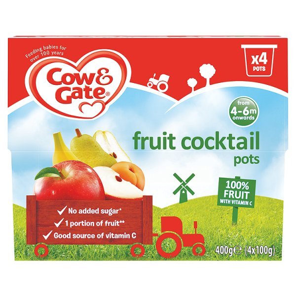 COW&GATE FRUIT COCKTAIL POT 4PK