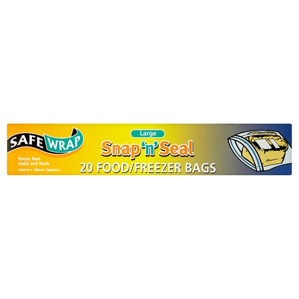 SAFEWRAP SNAP/SEAL FREEZER BAG LARGE