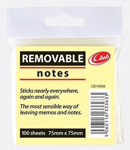 76X76MM YELLOW STICKY NOTES*