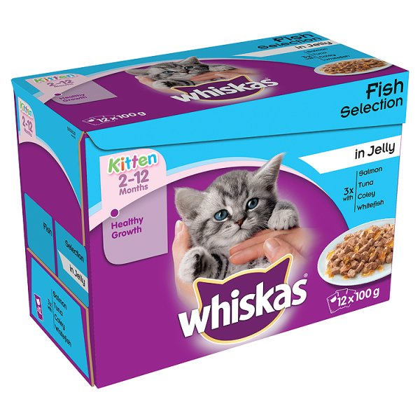 WHISKAS KITTEN POUCH FISH IN JELLY 2-12M